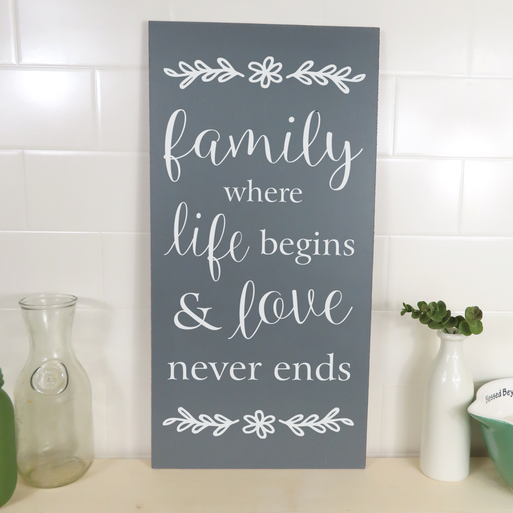 Family where life begins and love never ends on 24x12 board