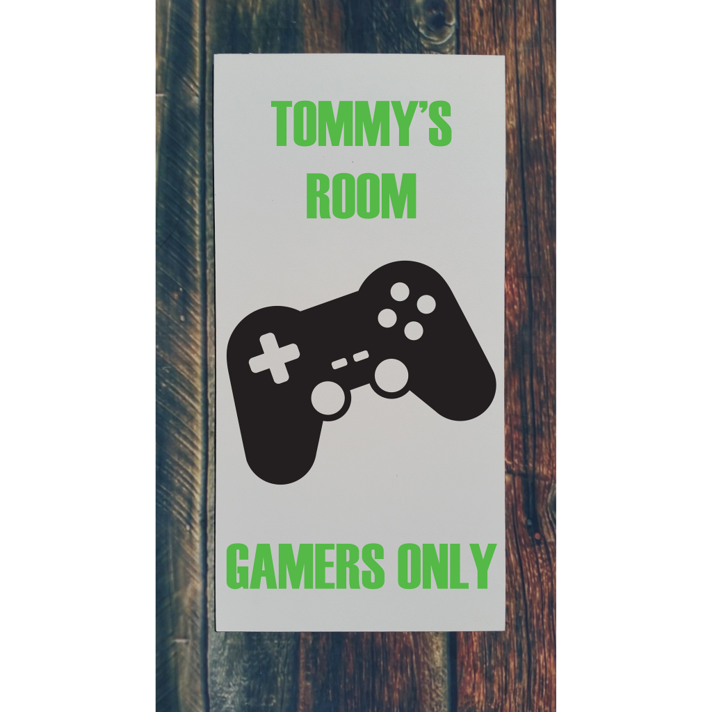 """""""Tommy's Room Gamers Only"""" with gaming remote on 12x24 board"""