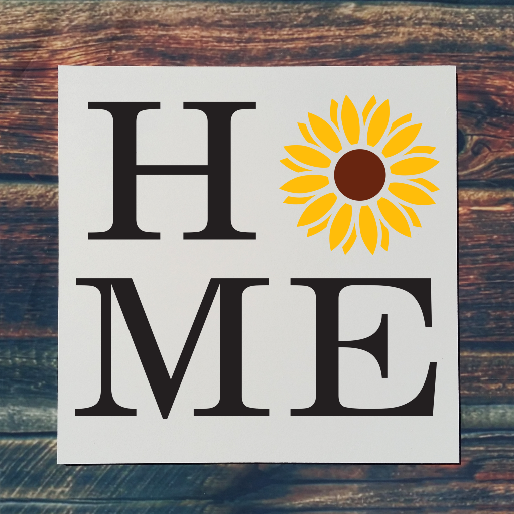 """""""Home"""" with sunflower on 16x16 board"""
