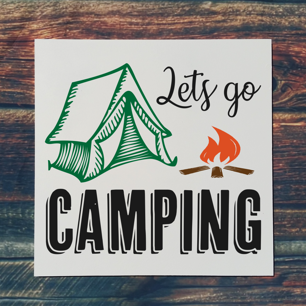"""""""Let's go camping"""" with tent on 16x16 board"""