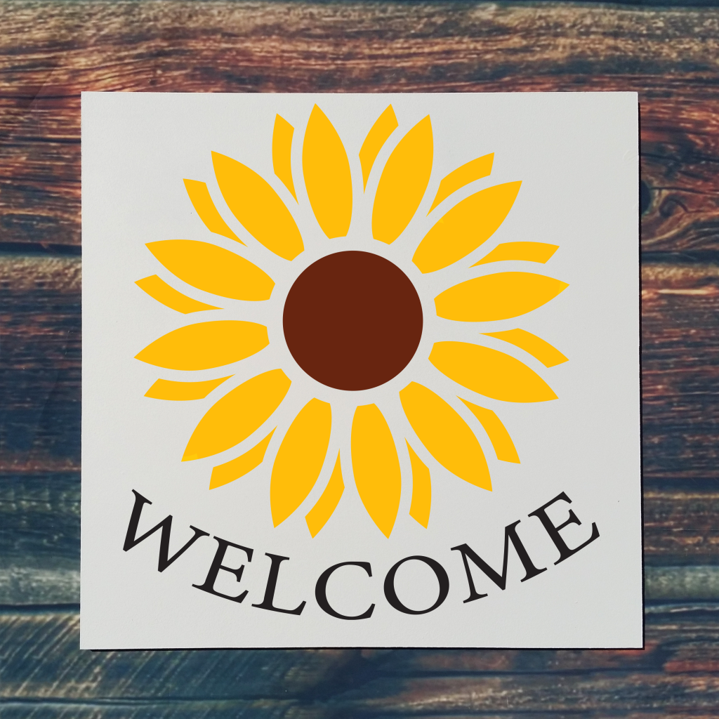 """""""Welcome"""" with sunflower on 16x16 board"""